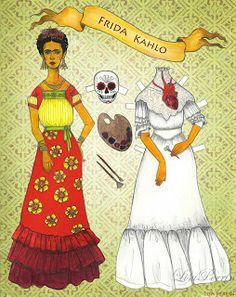 Bonecas de Papel: Frida Kahlo por Lisa Perrin