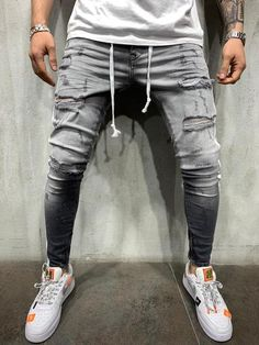 Ripped Jeans Style, Ripped Jeans Men, Men's Jeans, Men Street Look, Best Casual Shirts, Repair Jeans, Streetwear Jeans, Mens Fashion Wear, Stylish Mens Outfits