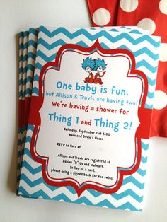 Dr Seuss Thing 1 and 2 Twins Birthday Party or Baby Shower Printable Invitation on Etsy, $10.00