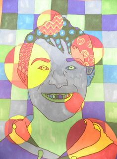 Art club idea. Hot and cold portrait. Shapes with warm and cool colours.