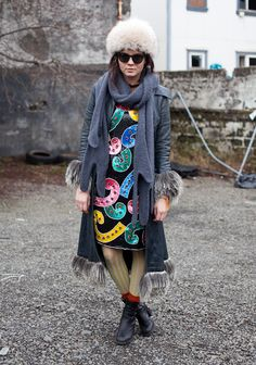 [Icelandic fashion- colorful dress with tights and an open jacket]