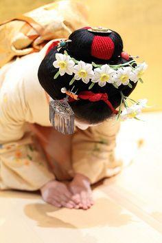 Suisen Kanzashi    Located : Miyako-Messe in Okazaki area, Kyoto.    Gion Higashi Maiko girl : Kanoyumi san