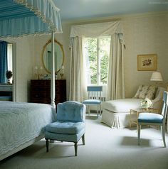 soft and soothing blue and cream room ~ Elsie De Wolfe slipper chair owned by her