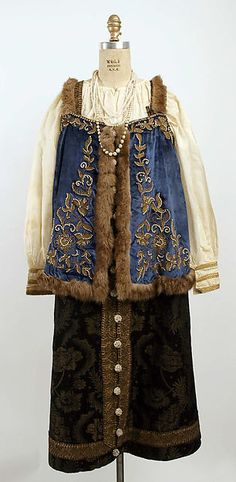 Ensemble - Date: late 19th century - Culture: Russian - Medium: velvet, silk, cotton