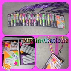 VIP style invitations for daughter's Glow in the Dark dance party. Complete with lanyard & security code for 'scanning'!