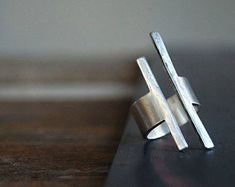 Balancing Act Ring Square Bar Ring Modern Rough Cut Sterling Modern Jewelry, Metal Jewelry, Jewelry Art, Jewelry Rings, Jewelery, Silver Jewelry, Jewelry Accessories, Jewelry Design, Silver Cuff