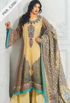 AKL - 2084 Basilica - Fawn  - 2.5 meter shirt  - Dyed Shalwar  - Embroidered Neck of Shirt  - Lawn Dupatta