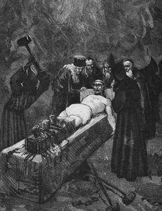 """Grandier, accused by the nuns of witchcraft, incest and sacrilege, was arrested and tortured in 'the boot', a device for smashing the legs. Inevitably he was found guilty and burned at the stake."""