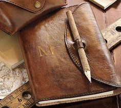 Saddle Leather Journal - like the pencil/catch solution