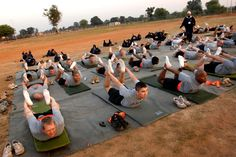 Army soldiers doing Yoga. This totally makes my day :o)