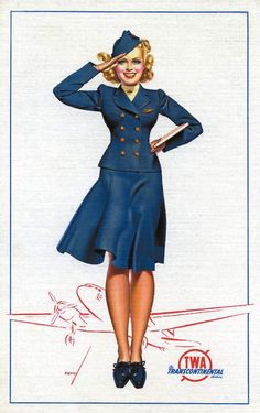Vintage flight attendant TWA = when i was small i wanted to be an air hostess! Unfortunately i did not make the height requirements!! I do love travel though