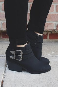 Black Faux Suede Buckle Belted Ankle Booties Zora-06