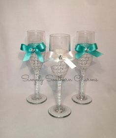 4 Personalized Tiffany's Inspired Wedding Champagne Glasses, Bridesmaid and Maid of Honor Glasses from SimplySouthernCharms on Etsy. Saved to Weddings! Handmade Wedding Gifts, Personalized Wedding, Personalized Gifts, Wedding Glasses, Champagne Glasses, Wedding Color Schemes, Wedding Colors, Tiffany Wedding, Maid Of Honor