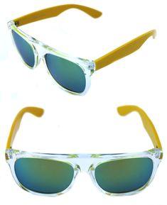 3e037e47d23cc0 Men s Flat Top Sunglasses Impero Super Clear Yellow Frame Gold Green  Mirrrored  SuperSunglasses  Sport