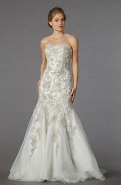 Bridal Gowns: Danielle Caprese Mermaid Wedding Dress with Strapless Neckline and Dropped Waist Waistline