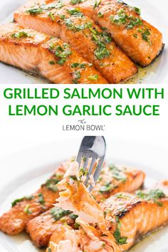 Loaded with Omega 3 s and ready in under 30 minutes this grilled salmon with lemon garlic sauce is sure to please any palette Healthy CleanEating Seafood Salmon Grilling Garlic Grilled Salmon Recipes, Healthy Salmon Recipes, Seafood Recipes, Dinner Recipes, Cooking Recipes, Fish Recipes, Kitchen Recipes, Healthy Grilling Recipes, Grilled Seafood