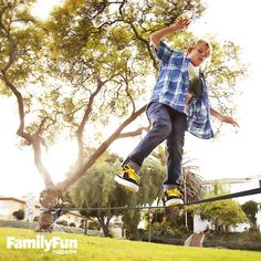 Build a Backyard Slackline: Take fun and fitness to new heights with this cool tightrope exercise. Setting up a slackline in your backyard provides the thrills and challenges of tightrope walking on a smaller (and safer!) scale. #FamilyFunMagDay