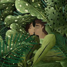 Jungle love greeting card. 15 x 15 cm with envelope. 🌿🌿🌿 Jungle Love, Gouache, Watercolor Art, Envelope, Plant Leaves, Illustration Art, Greeting Cards, Plants, Envelopes