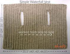 Simple Waterfall Vest - free crochet pattern in 4 sizes (Small to on Moogly! - Simple Waterfall Vest – free crochet pattern in 4 sizes (Small to on Moogly! Crochet Bolero Pattern, Crochet Cardigan, Crochet Shawl, Crochet Stitches, Knit Crochet, Crochet Patterns, Crochet Vests, Moogly Crochet, Crochet Cape