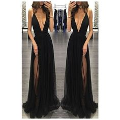 Deep V-neck Prom Dress,Sleeveless B.. ❤ liked on Polyvore featuring dresses, low v neck prom dress, prom dresses, sleeveless prom dress, no sleeve dress and deep v neckline dress