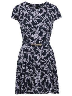 Apricot -  Černé květované šaty s páskem - 1