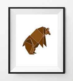 Digital Print Art  ORIGAMI GRIZZLY BEAR  by FlavoreePrints on Etsy