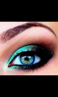 Turquoise and black eyeshadow