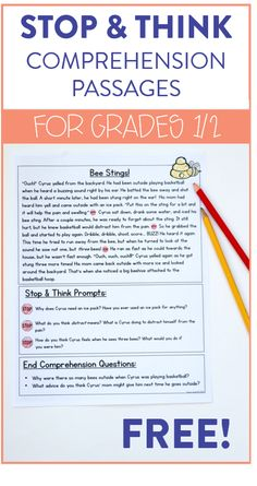 Stop & Think Comprehension Passages for First Grade - Susan Jones - Frieda 2nd Grade Reading Passages, First Grade Reading Comprehension, Reading Fluency, Reading Intervention, Comprehension Posters, Free Reading Comprehension Worksheets, Reading Response, Reading And Writing Project, Reading Help