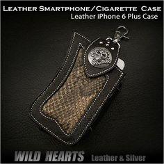 Leather Smartphone iPhone 6/6 Plus & cigarette Case Lighter Case Python WILD HEARTS Leather&Silver (ID cc2416r38)  http://item.rakuten.co.jp/auc-wildhearts/cc2416r38