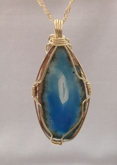 Natural Painted Blue Slice Agate Pendant made of by OritWhiteLight