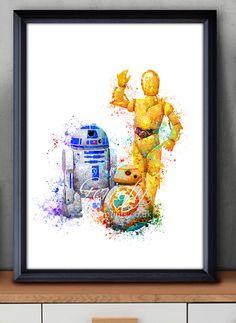 Star Wars R2-D2 BB-8 C-3PO Watercolor Painting Art Poster Print Wall Decor https://www.etsy.com/shop/genefyprints