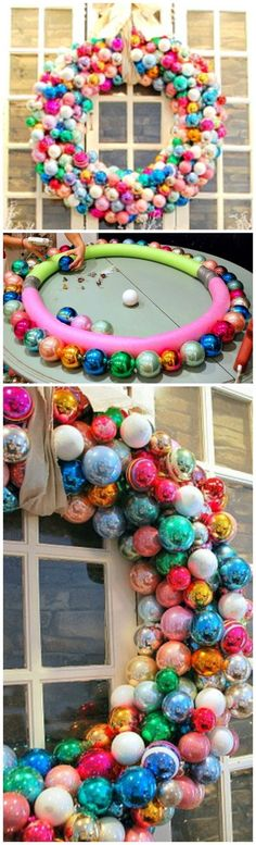 Pool Noodle Ornament Wreath Tutorial I know that ornament wreaths are nothing new. I remember when i first saw one about 3 years ago (i cant remember the one i saw) – i knew that i had to have one. SO, i stockpiled ornamen… Pool Noodle Christmas Wreath, Pool Noodle Wreath, Pool Noodle Crafts, Outdoor Christmas, Christmas Holidays, Christmas Ornaments, Burlap Christmas, Christmas Door, Christmas Kitten
