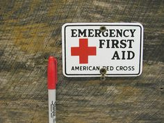 Porcelain First Aid Sign - Small Red Cross Sign - Bar Man Cave Decor - Porcelain Sign - Emergency Medical Sign by Idugitup on Etsy