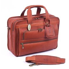 ClaireChase Personalized Guardian Computer Briefcase - Saddle - 150E-SADDLE
