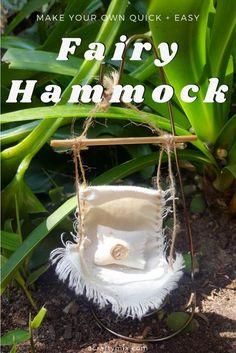 Own Fairy Hammock - Easy DIY Make your own teeny tiny fairy hammock. Quick and easy fairy craftMake your own teeny tiny fairy hammock. Quick and easy fairy craft Fairy Garden Houses, Diy Garden, Garden Projects, Fairy Tree Houses, Gnome Garden, Garden Art, Mini Mundo, Fairy Garden Furniture, Fairy Crafts