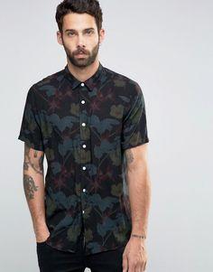 Image 1 ofASOS Hawaiian Reverse Print Shirt In Black In Regular Fit