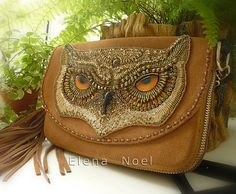 Sale 15% off Embroidered beaded handbag with owl. by ElenNoel