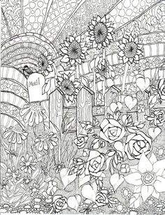 Detailed Coloring Pages for Adults | Coloring book spring illustration