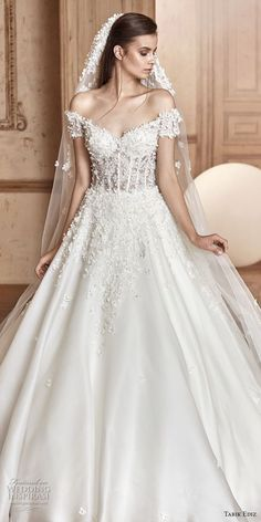 tarik ediz 2017 bridal off the shoulder sweetheart neckline heavily embellished bodice romantic princess a  line wedding dress (5) zv -- Tarik Ediz White 2017 Wedding Dresses
