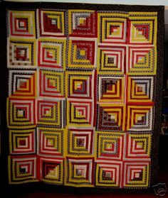 Antique Log Cabin Quilt--love all the bright yellow prints