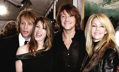 {*Jon Bon Jovi with his wife, high school sweethearts still Happily together & Richie Sambora with his wife Heather Locklear not together anymore*}