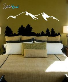 Vinyl Wall Decal Sticker Snow Mountain View w/ Trees #194   Stickerbrand wall art decals, wall graphics and wall murals.