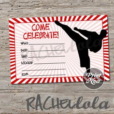 Karate birthday invitation, Print Now, do-it-yourself, digital print, instant download