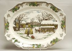 "johnson brothers turkey platters | Johnson Brothers FRIENDLY VILLAGE CHRISTMAS 20"" Platter"