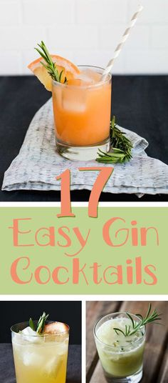 17 Creative Gin And Tonic Cocktails. 17 delicious ways to drink more gin! Gin Recipes, Gin Cocktail Recipes, Cocktail Drinks, Alcoholic Drinks Gin, Coctails Recipes, Easy Recipes, Gin & Tonic Cocktails, Gin Mixed Drinks, Easy Cocktails