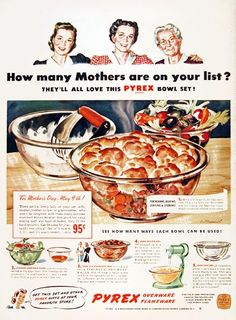 1943 Pyrex Ovenware original vintage advertisement. For mixing, baking, serving and storing see how many ways each bowl can be used. Pyrex is a trademark of Corning Glass Works.