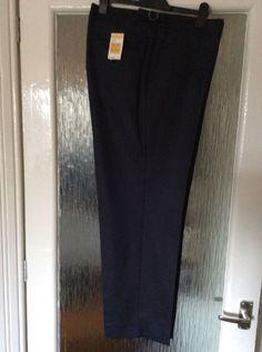 M&S Savile Row inspired WOOLMARK TROUSERS 100%WOOL W44  INside LEG 31 BNWT Navy