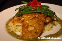 Atlantic Almond Crusted Sole on Creamy Leek Rice Topped with Tiny Green Beans!