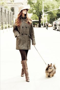 Chocolate Tweed Coat. Coffee Suede Boots. Cream Hat!  | | { Couture /// Runway Every Day #walk #dog