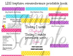 LDS Baptism PRINTABLE Remembrance Book